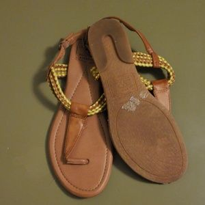 Electric yellow and tan Lucky sandals